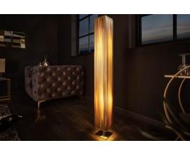 Moderná stojaca lampa Paris s látkovým tienidlom zlatej farby 120cm