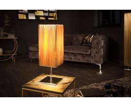 Moderná stolná lampa Paris s látkovým tienidlom zlatej farby 43cm