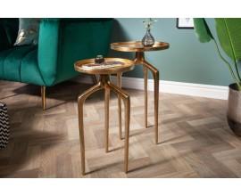 Moderný set dvoch okrúhlych príručných stolíkov Notion z kovu v zlatej farbe 59cm