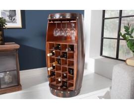 Koloniálna drevená barová skrinka Crawley v tvare sudu 97cm