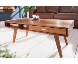 Retro konferenčný stolík Eden z masívneho dreva sheesham so zásuvkou a poličkou 100cm