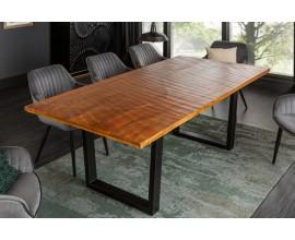 Masívny jedálenský stôl Cumbria s organickým vzorom na kovovej konštrukcii 200cm