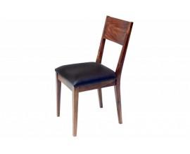 Moderná jedálenská stolička Sheesham z masívneho dreva s koženým čalúnením