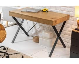 Industriálny hnedý dizajnový pracovný stôl Westford na čiernych nohách so zásuvkou 110cm