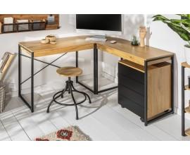 Vkusný a štýlový hnedý pracovný stôl Westford s čiernymi kovovými nohami v industriálnom štýle so zásuvkou