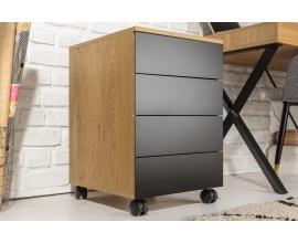 Dizajnový hnedý industriálny príručný stolík Westford so zásuvkami čiernej farby na koliečkach