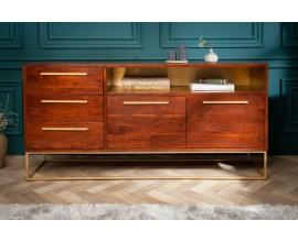 Art-deco dizajnový príborník Alyr z masívneho dreva so zlatými prvkami 165cm