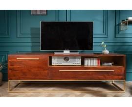 Art-deco TV stolík Alyr z masívneho dreva so zlatými prvkami 165cm