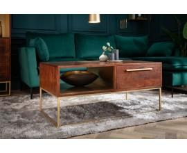 Art-deco dizajnový konferenčný stolík Alyr z masívneho dreva so zlatými kovovými prvkami 110cm