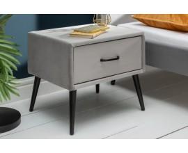 Retro nočný stolík Ribble zo sivého zamatu s čiernymi kovovými nožičkami 45cm
