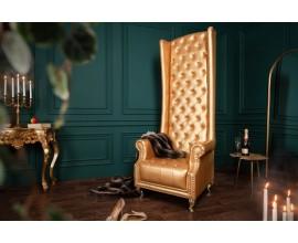 Chesterfield dizajnové kreslo Royal z ekokože zlatej farby 189cm