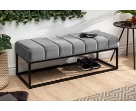 Retro čalúnená lavica Taxil s kovovou konštrukciou a strieborno sivým zamatovým poťahom 110cm