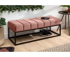 Retro lavica Taxil s ružovým zamatovým poťahom a kovovou konštrukciou 110cm