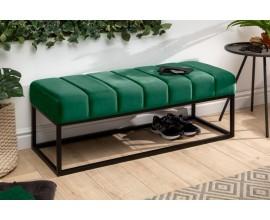 Retro štýlová lavica Taxil so smaragdovozeleným poťahom zo zamatu 110cm