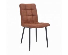 Dizajnová vintage jedálenská stolička Derris v hnedej farbe s kovovou konštrukciou a poťahom z mikrovlákna