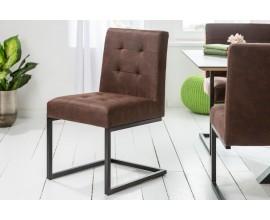 Dizajnová hnedá čalúnená jedálenská stolička Vesoul s kovovou konštrukciou 86cm