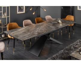 Mramorový rozkladací jedálenský stôl Marmol s industriálnou kovovou konštrukciou 180/220/260cm