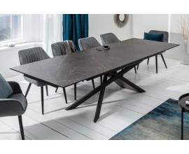 Mramorový rozkladací jedálenský stôl Marmol s kovovými nohami v tmavom odtieni 180-220-260cm