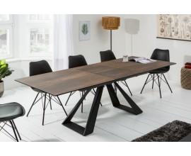 Hnedý dizajnový rozkladací jedálenský stôl Laguna s industriálnymi nohami 180/230cm