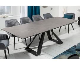 Dizajnový rozkladací jedálenský stôl sivohnedý Laguna s čiernymi kovovými nohami 180/230cm