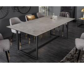 Industriálny jedálenský stôl Collabor čiernej farby s betónovým vzhľadom 200cm
