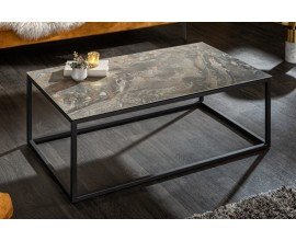Industriálny konferenčný stolík Collabor s keramickou doskou s mramorovým efektom 100cm
