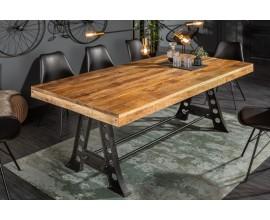 Industriálny dizajnový jedálenský stôl Machine z mangového masívu s kovovou konštrukciou 240cm