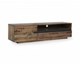 Industriálny TV stolík Morgana z masívneho akáciového dreva s poličkami a dvierkami 170cm