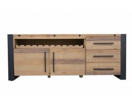 Industriálny príborník Adin z masívneho dreva s kovovou konštrukciou 195cm
