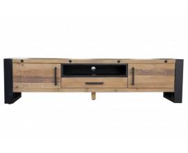 Industriálny dizajnový TV stolík Adin z masívu a kovu so zásuvkou a dvierkami 200cm