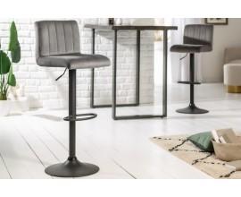 Dizajnová čalúnená barová stolička Portland so sivým zamatovým poťahom 109cm