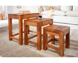 Vidiecka dizajnová sada troch príručných stolíkov Sheesham z masívneho palisandrového dreva 45cm