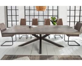 Dizajnový sivohnedý jedálenský stôl Comedor z masívu s čiernymi prekríženými nohami 240cm