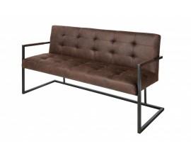 Dizajnová hnedá jedálenská lavica Vesoul čalúnená s kovovou konštrukciou 160cm