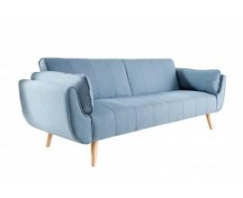 Retro modrá rozkladacia čalúnená sedačka Domingo s drevenými nohami  215cm