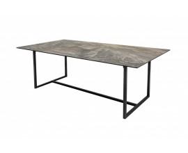 Mramorový hranatý jedálenský stôl Collabor s čiernymi kovovými nohami 200cm