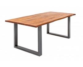 Industriálny jedálesnký stôl Forest z dreva akácie s kovovými nohami 140cm