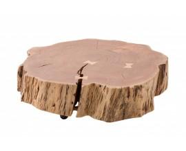 Masívny príručný stolík Terra z kmeňa akácie v prírodnom odtieni na kolieskach 80cm