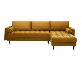 Moderná žltá sedačka Velluto v tvare L na nožičkách 260cm