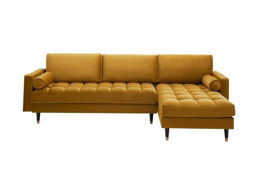 Luxusná Art-deco rohová sedačka Velluto v žltom prešívanom poťahu s otomanom na nožičkách