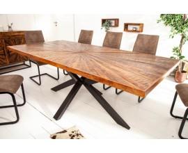 Masívny dlhý jedálenský stôl Fair Haven s industriálnou kovovou prekríženou konštrukciou 200cm