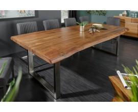 Masívny dlhý jedálenský stôl Mammut s doskou z akácie a nohami z kovu 200cm