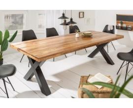 Industriálny masívny jedálenský stôl Steele Craft s prekríženými čiernymi nohami z kovu 240cm