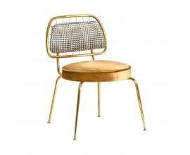 Art-deco luxusná zlatá jedálenská stolička Brilon so zamatovým čalúnením 78cm