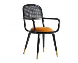 Art-deco jedálenská stolička Brilon z čierneho dreva s horčicovým poťahom 89cm