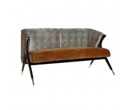 Art-deco luxusná drevená čierna pohovka Brilon s horčivým vzorovaným poťahom 140cm