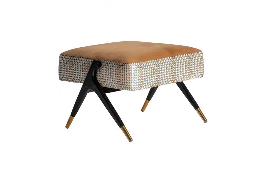 Jedinečný luxusný Art-deco taburet Brilon s geometrickým vzorom na zamatovom poťahu v hnedožltom odtieni