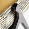 Art-deco horčicový čalúnený luxusný taburet Brilon s vysokými čiernymi nohami a zlatými prvkami 70cm