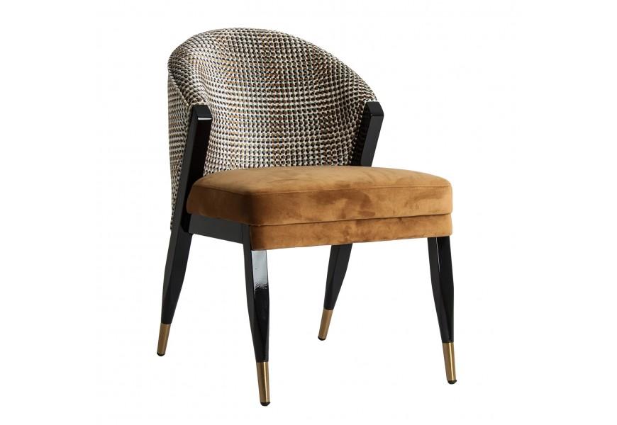 Jedinečná zamatová jedálenská stolička Brilon so vzorom v Art-deco štýle na masívnej čiernej konštrukcii