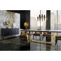 Art-deco luxusný príborník Barzy s dekoratívnymi čiernymi dvierkami a zlatými nohami 152cm